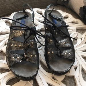 Wolky Silver & Black Comfort Sandals Shoes 38